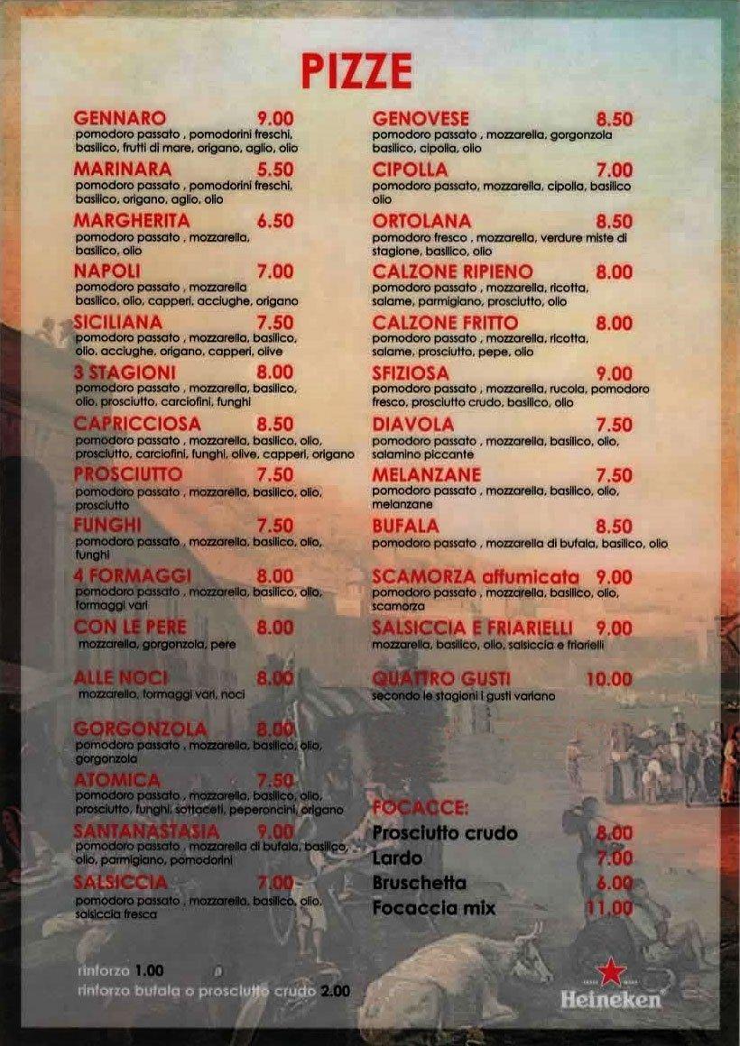 Menu pizza La Divina Commedia Torino